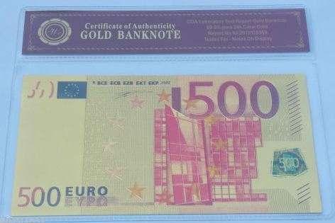 Nota 500 euros PVC+folha de ouro com certificado