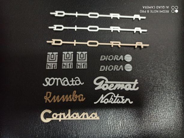 Logo emblematy nazwy Diora Unitra HiFi Sonata