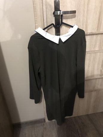 ZARA sukienka khaki z kolnierzykiem