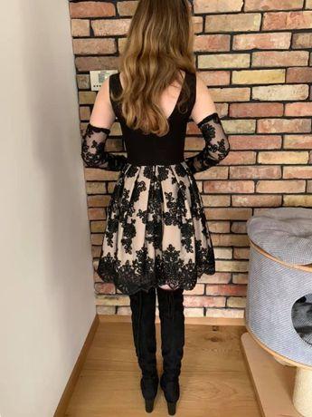 Sukienka czarna koronka impreza, przyjęcie r. xs