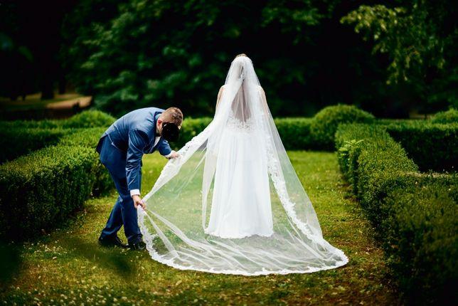 Welon długi hiszpański katedralny ślub wesele koronka