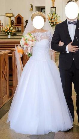 Suknia ślubna + koronkowe bolerko