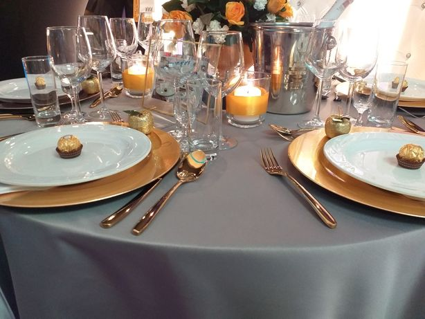 Podtalerze dekoracyjne miedź, złoto, bordo, srebro - wesele