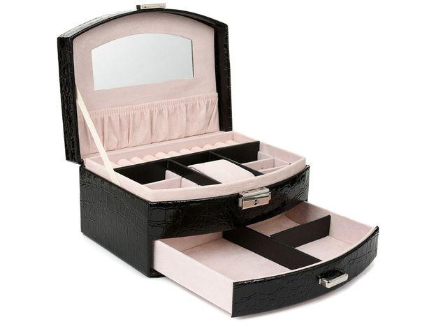 szkatułka kuferek kasetka na biżuterię kolczyki F11 czarny