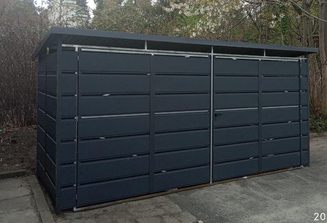 Wiata śmietnikowa panelowa 4x2,5 w kolorze antracyt