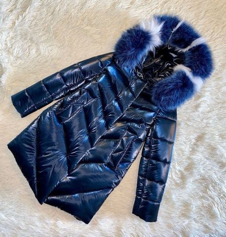 Шикарное зимнее пальто для девочки Бархат Синий с натуральным мехом