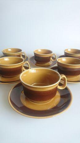 Zestaw 6 filizanek ceramika PRUSZKOW prl