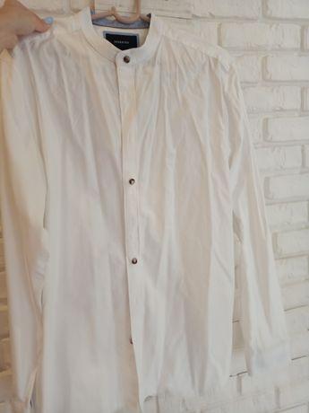 Biała koszula męska bawełniana z długim rękawem