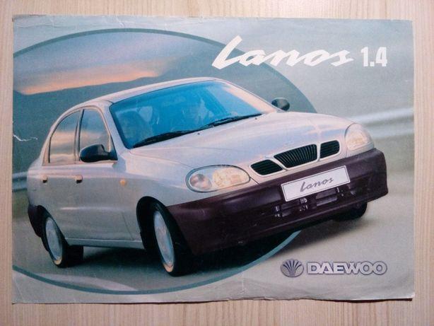 Ulotka Daewoo Lanos 1.4 Folder Broszura Prospekt Samochody Auto Cars