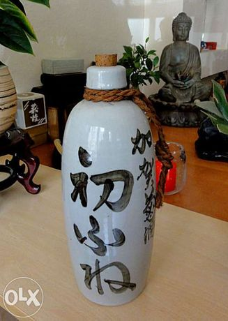 Antiguidade Japonesa Garrafa de Sake Artesanal
