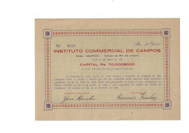 Bonds Shares Ações Acção Instituto Commercial Campos - 1926