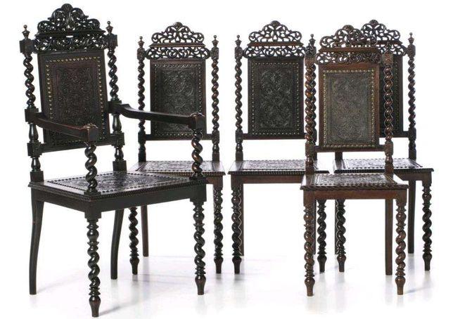 Conjunto Cadeirão e 4 Cadeiras Pau Santo