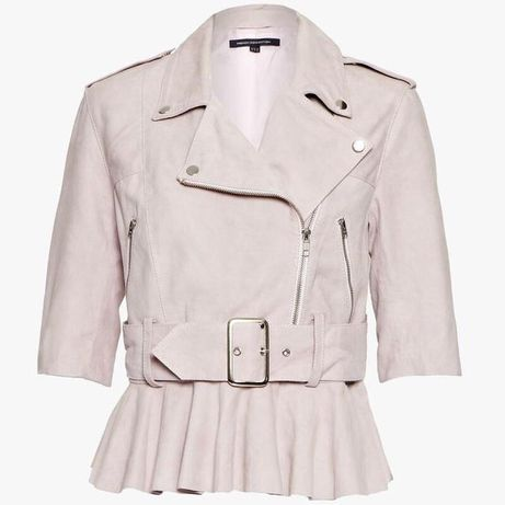 кожаная куртка курточка косуха кожанка,натуральный замш цвет пудра роз