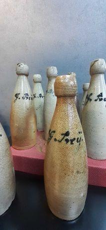 Stara kamionkowa butelka piwna Uchtdorf Gustav Prey Lisie Pole pommern