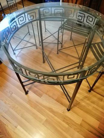 Stół okrągły plus krzesła