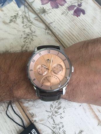Męski zegarek Lotus 18216/3 skórzany brązowy pasek tarcza różowe złoto