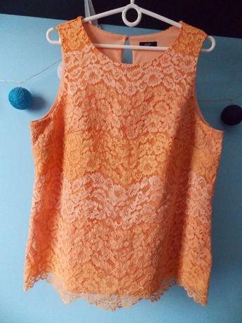 Pomarańczowa cieniowana bluzka z koronki - r. 44