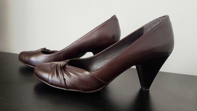skórzane buty na obcasie brązowe szpilki 100% skóra 39 eleganckie