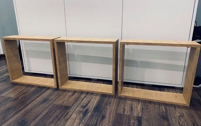 3 półki prostokątne kwadratowe