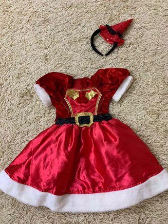 Новогоднее платье помощницы Санты деда Мороза на 9-12 мес, на 3-4года