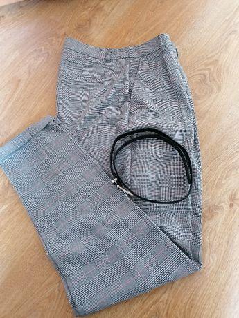 Spodnie w kratę z paskiem, wysoki stan, r. M