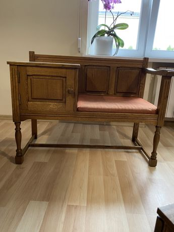 Ławka dębowa, stolik pod telefon
