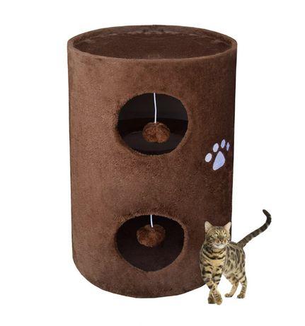 17028 Legowisko DRAPAK dla kota 58cm brązowy zabawki na sznurku