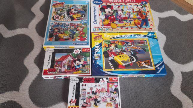 Puzzle Myszka Miki, Minnie. 5 pudełek puzzli + gratis