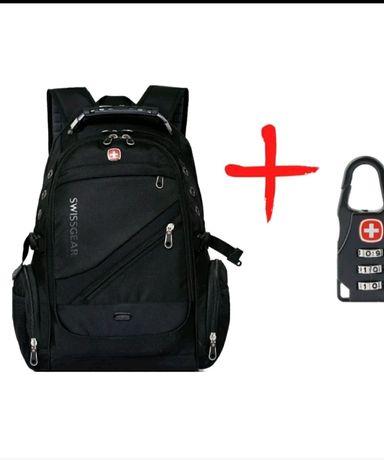 Рюкзак Swiss gea 8810 з дощовиком + замок в подарунок Black