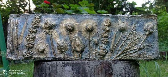 Donica doniczka drewniana osłona na kwiaty zioła świece złoto