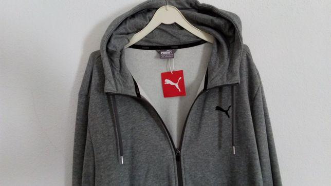 Casaco com fecho e capuz cor cinza mesclado marca PUMA