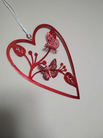Serca metalowe czerwone bordowe dekoracja ślub wesele