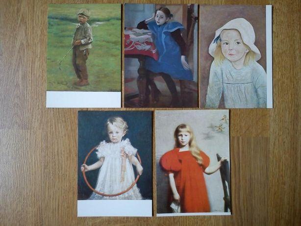 Kolekcja pocztówek z obrazami dzieci (niezapisane)