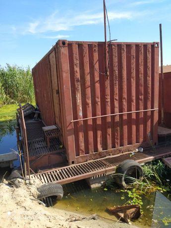 гараж для лодки на понтоне
