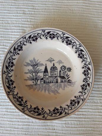 Pratos antigos grandes faiança XIX coimbra vilar de mouros