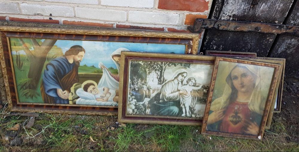 Obrazy religijne  * PRL * Ramy drewniane * 5 szt. Parzęczew - image 1