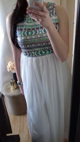 Suknia maxi długa suknia szyfon cekiny XL