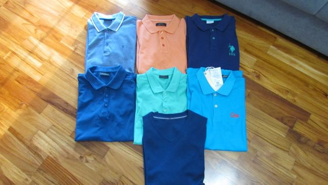 Koszulki Polo L z krótkim rękawem(7 sztuk) + swetr gratis