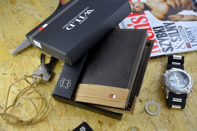 Męski portfel skóra 100% ochrona RFID wysyłka