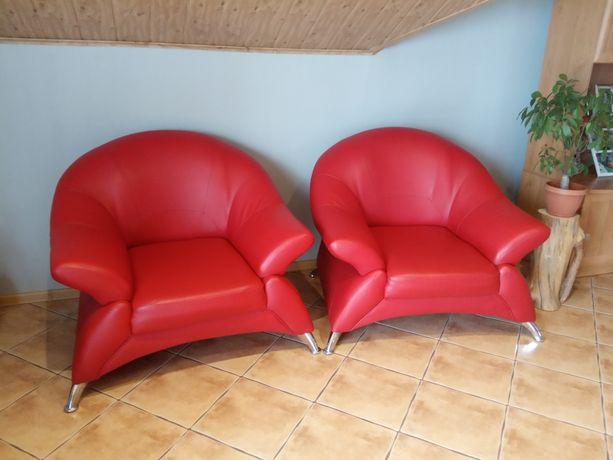 Eleganckie fotele wypoczynkowe eko skóra w idealnym stanie