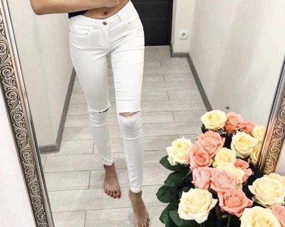 Женские белые штаны джинсы bershka
