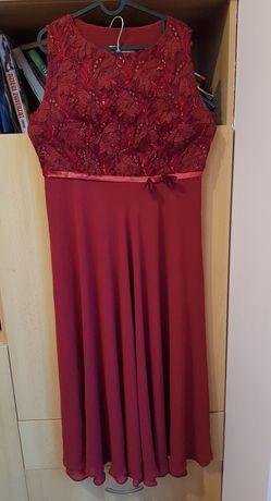 suknia wieczorowa burgund bordo 46 z szalem