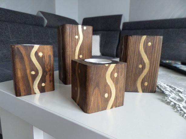 Świeczniki z drewna ręcznie robione