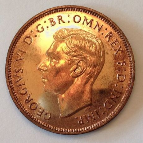 - 1937 Wielka Brytania George VI One Penny - Proof Only 26 000 Mened