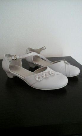 Komunia Pantofle dziewczęce białe 36