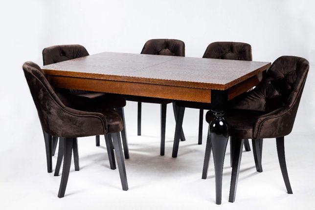 Stół MOdena 160/200x90cm + 6 krzeseł pikowanych z kołatką
