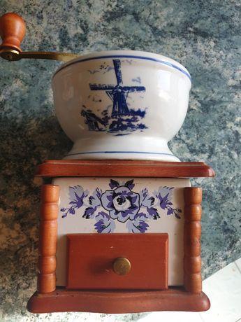 Holandia, ręczny, młynek do kawy, ceramika