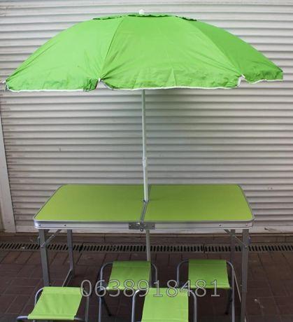 Стіл для пікніка 4 стула + ЗОНТ. УСИЛЕННЫЙ стол для пикника столик