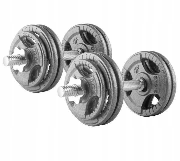 ZESTAW HANTLE ŻELIWNE regulowane 2X10kg trening siłownia