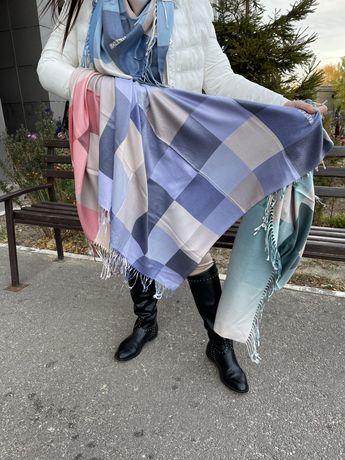 Платок шарф палантин кашемир клетка беж
